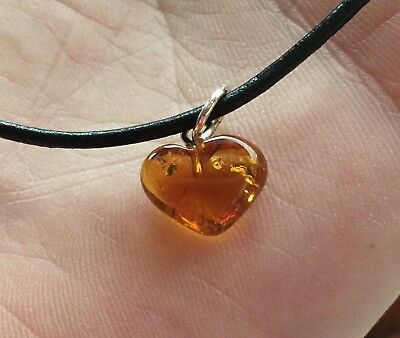 Amber Heart Charm Leather Cord Bracelet - Sacral Throat Protective Healing