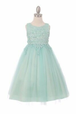 New Mint Green Coiled Lace Tulle Girls Dress Wedding Pageant Christmas Party 508