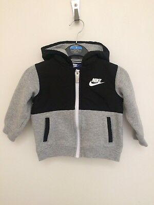 Baby Boys Nike Grey & Black Zip Up Hooded Top Jumper 12/18 Months