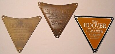 """Three Vintage 'the Hoover Cleaner"""" Metal Name Plate Signs * Brass"""