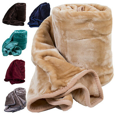Large Faux Fur Throw Fleece Blanket Double Soft Warm Mink Blanket Sofa Bed
