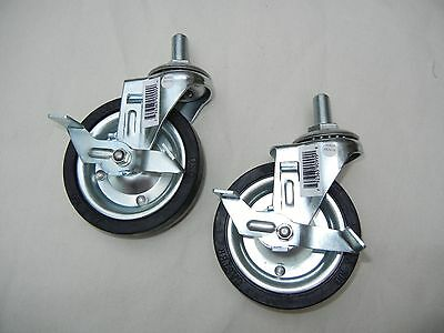 """4"""" Hard Rubber Zinc Plated Swivel Caster with Brake - 1/2-20 UNF Thread Set of 2"""