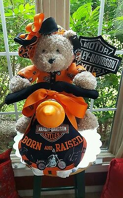 Harley Davidson Theme Unisex Motorcycle Diaper Cake- Made To Order For Girl /Boy