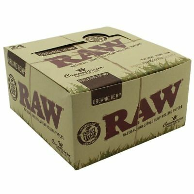 Authentic Raw Organic Connoisseur Hemp King Size Slim +Tips Pure Rolling Papers