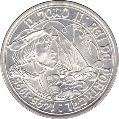 "Portugal - 1000 Escudos 1995 "" D. Joao II "" - Large Silver Coin - KM#685"