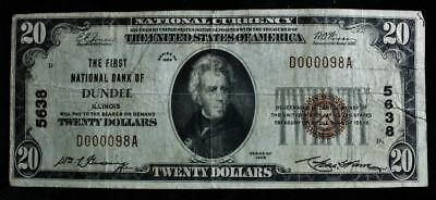1929 $20 National Currency Note Fine (National Bank Dundee, Il) #5638