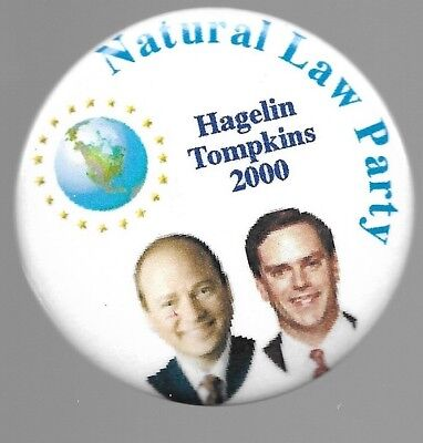 Hagelin And Tompkins Natural Law Party 2000 Political Campaign Pin