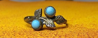 Old Bronze ring with a turquoise stone.2ps