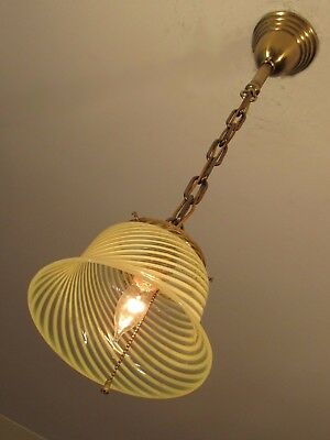 Antique Vaseline Swirl Light Fixture late 1800s Professionally Restored!