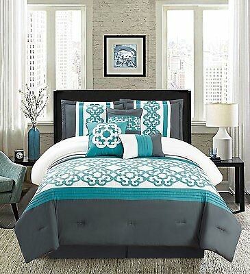 Golden Linens Turquoise White 7 Pcs Embroidery Comforter Set