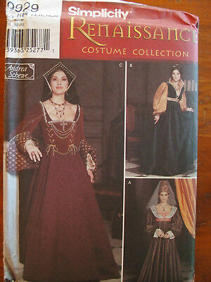 Simplicity 9929 Renaissance Theater Costume Dress Gown 14-20 sewing Pattern UC