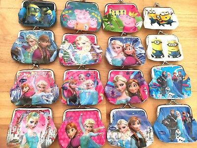 Kids Girls Disney Frozen Peppa Pig Clasp Clip Frame Coin Purse Party Bag Fillers