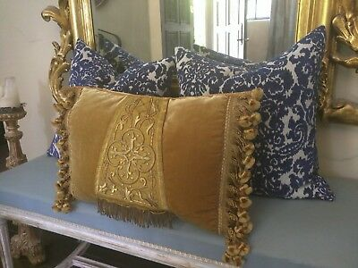 Italian Church Fragment  Pillow, GOLD velvet, and   21 x 14 x 5
