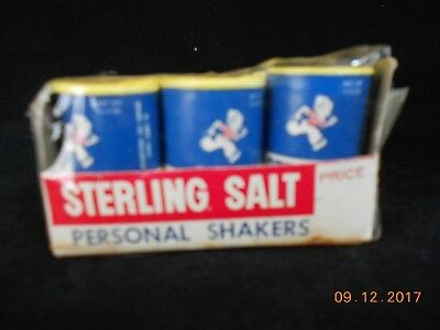 Vintage Collectible Advertising Sterling Salt Personal Shakers 6 in Original Box