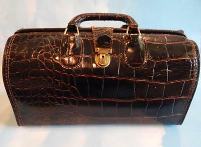 Vintage Upjohn Medical Bag Used by Salesman Cowhide that has an Alligator Design