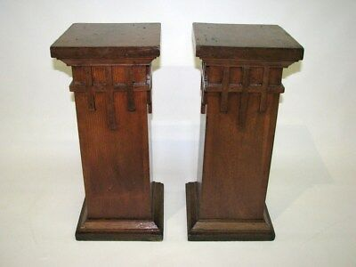 Pair of Antique Arts & Crafts / Prairie Style Pine Pedestals; Circa 1910