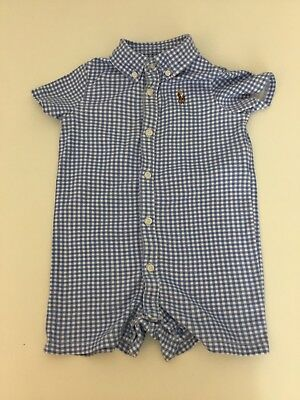 Ralph Lauren Checked Blue & White Boys Outfit Set Romper All In One Age 9m Month