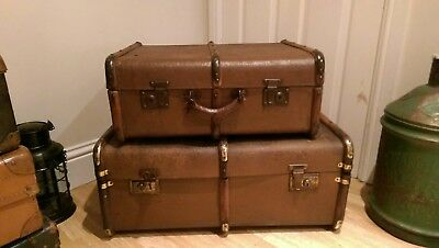 Vintage Hessian Covered Wood Bound Steamer Trunk Amazing Patina Quality Trunk