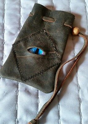 Small leather bag pouch drawstring renaissance medieval dice coin Stitched Eye