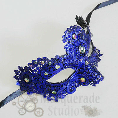 Women's Venetian Lace Festival Party Masquerade Mask with Rainbow Gems [Blue]