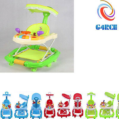 Newly Baby Walker Luxury Toddler Breathable Seat Toy Tray Canopy Rocking Horse
