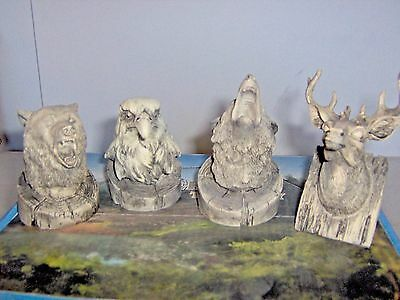Set Of 4 Wild Animals Deer,eagle,bear,and Coyote Heads Poly Resin