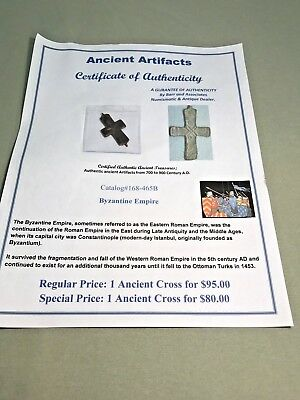 BYZANTINE Empire  Ancient  CROSS - Amulet / Pendant 700 to 900 A.D. COA