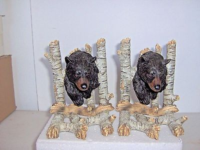 Set Black Bear Bookends Has Head And Front Paws W/ Branches Behind And Bottom