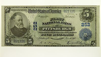USA 1918 Five Dollars First National Bank at Pittsburgh Banknote