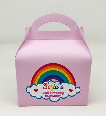 Various Rainbow Personalised Children Party Boxes Gift Favour 1ST CLASS POST