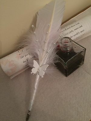 "Beautiful Handcrafted White Feather Quill Pen with ""real ink"" nib"