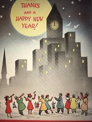 Vintage UNUSED Forget-Me-Not Greeting Card NEW YEAR Art Deco French Fold VTG