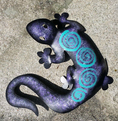 "La Lagartija Lizard Metal Handmade Painted Wall Art Mexican Purple 9"" 409"
