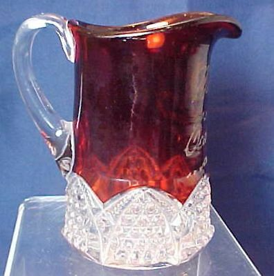 Vintage Cedar Point 1908 Cream Pitcher Ruby Stained Button Arches Mamma