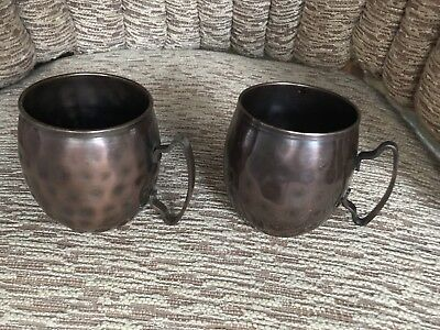 14 Oz Hammered Copper Moscow Mule Mugs - Set Of Two - World Tableware MM100