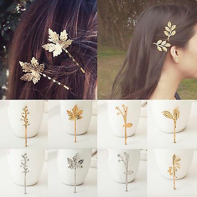 Fashion Women/Girls Gold Silver Leaf Crystal Hair Clip Hairpin Hair Accessories