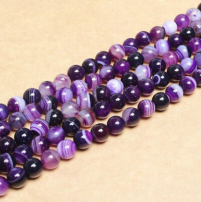 10-40Pcs Purple Natural Striped Agate Gemstone Round Spacer Loose Beads 4-10MM