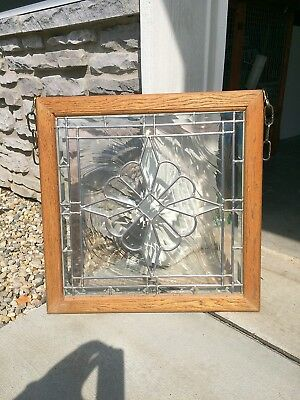 "Stained/Leaded Glass Window Panel Wood-Framed 23"" x 23"""