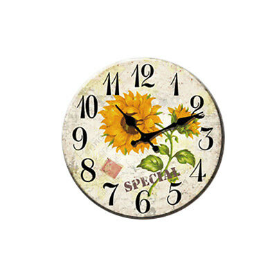 Vintage Wooden Wall Clock Shabby Chic Rustic Office Home Decor Antique Style