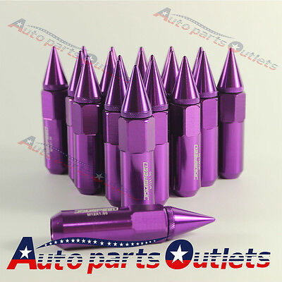 Purple M12X1.5 20PC Cap Spiked Extended Tuner Aluminum Wheels Rims Lug Nuts 60mm