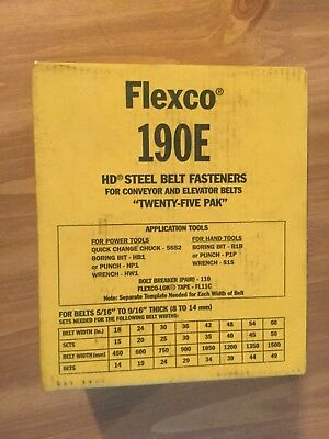 FLEXCO BELT FASTENERS 190E CONVEYOR ELEVATOR BELT (25 pk) NOS  Original BOX