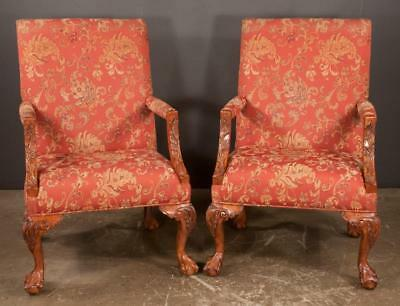 Pair of Chippendale style mahogany Gainsborough style armchairs with ... Lot 130