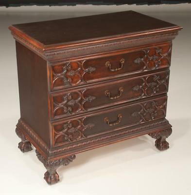Chippendale style mahogany three drawer chest on ball and claw feet, ... Lot 284