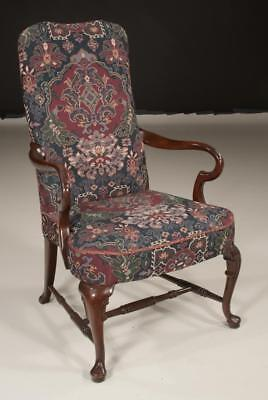 Queen Anne style mahogany armchair with upholstered back and seat and... Lot 327
