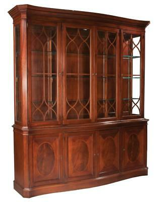Sheraton style mahogany serpentine front breakfront bookcase with can... Lot 242