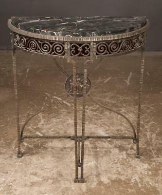 Wrought iron demi-lune marble top console table with pierced scroll de... Lot 33