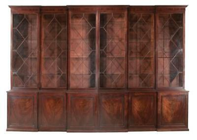 18th century Georgian mahogany breakfront bookcase with shaped crown ... Lot 200