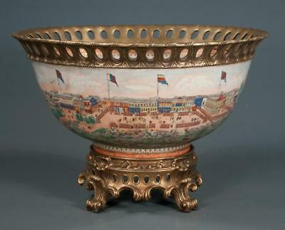 Bronze mounted Chinese porcelain center piece with harbour scene deco... Lot 123