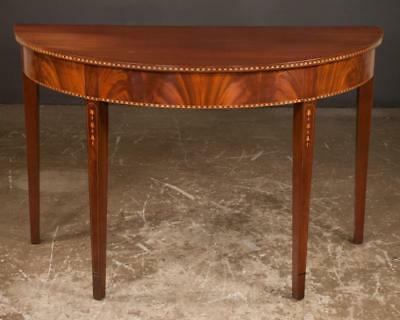 Sheraton mahogany demi lune console table with satinwood inlay on squ... Lot 108