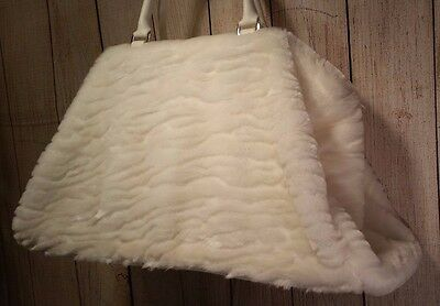 Woman's weekend bag white faux fur travel suitcase
